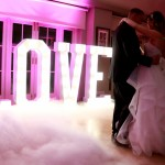 First dance with light up letters at a Hever Castle Kent Wedding